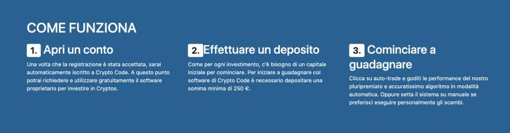 Registrazione di un nuovo account su Crypto Code