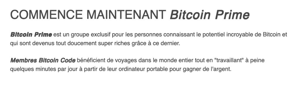 Bitcoin Prime joindre