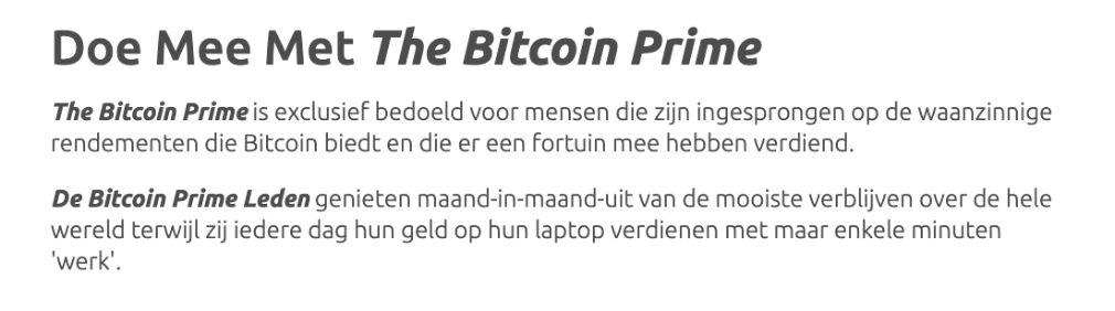 Bitcoin Prime een rekening openen